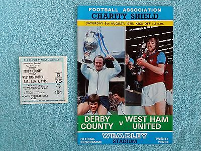 1975 - CHARITY SHIELD PROGRAMME + MATCH TICKET - DERBY COUNTY v WEST HAM UTD