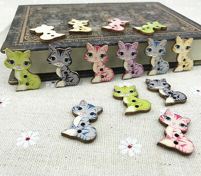 Wooden buttons Cartoon Mixed-color Cat Fit sewing or scrapbooking  crafts 27mm