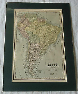 15.5x21.5 Vtg South America Color Engraved Lithograph Atlas Map Matted Frame