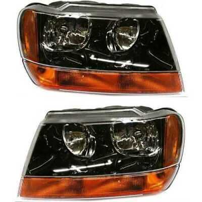 Pair of Front Headlight Assemblies for a 1999-2004 Jeep Grand Cherokee Laredo
