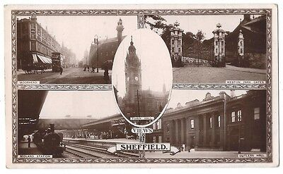 SHEFFIELD Multiview RP Postcard showing view of Railway Station, Posted 1914