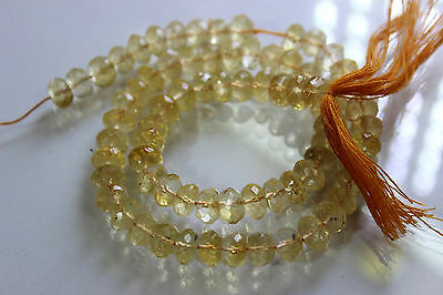 Citrin quartz faceted roundelle beads size 6x7.5 mm length is 13 inch