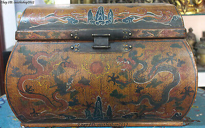 "22"" Old Dynasty Palace Wood Lacquerware Dragon Dragons Box Boxes Case Chest"