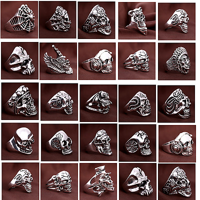 Silver/Gold Men's GOTHIC BIKER Punk Rock Skull Jewellery Rings Wholesale Lots