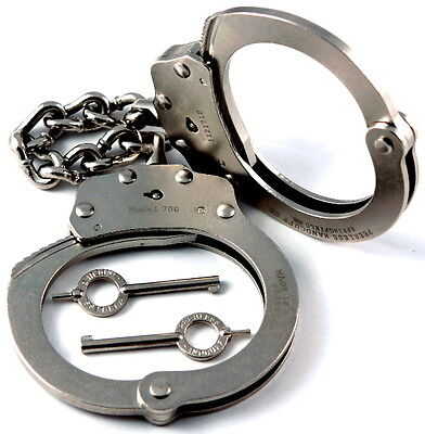 "Peerless Police Handcuffs 700C-6X Nickel 6"" Extended Chain Prison Restraints New"