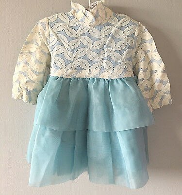 1970's Vintage Blue & White Two-Tiered Lace Dress for Toddler Girl | Size 2T