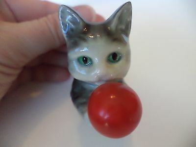 "Vintage Goebel W Germany 2"" Med Grey Cat With Red Ball Figurine Miniature"