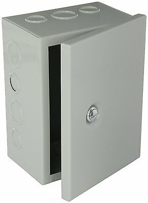 NEMA 1 Sheet Electrical Enclosure Metal Steel Box Junction Knockout Hinged Cover