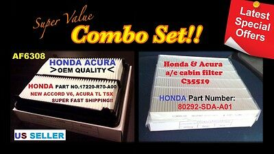 Engine&Cabin Air Filter For  HONDA ACCORD CROSSTOUR V6 & ACURA TL TSX CA10468