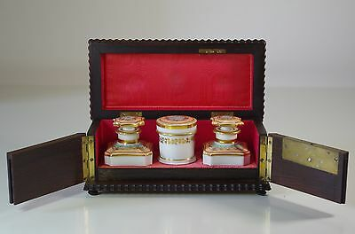 Antique XIX French Boulle Marquetery Scent Travel Box Porcelain Perfume Bottles