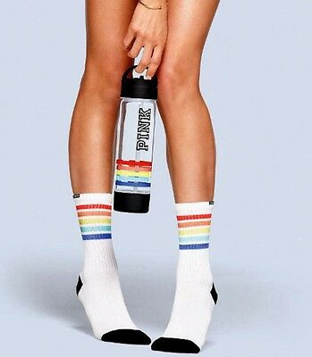 Victoria's Secret Pink Striped Socks And Water Bottle