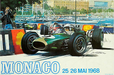 Classic Poster F1 Monaco Reproduction Motorsport Print Grand Prix 1968  A2