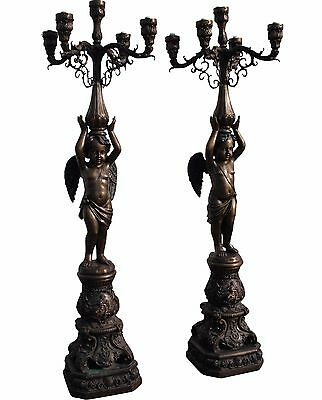 Pair of French Empire Bronze Cherub Torchieres - Electric Floor Candelabras