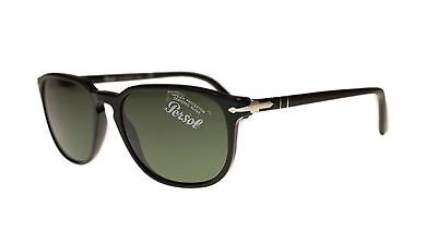 9c0a8c9819 Persol Men s Sunglasses PO3019 95 31 Black With Green Lens Square 55mm  Authentic