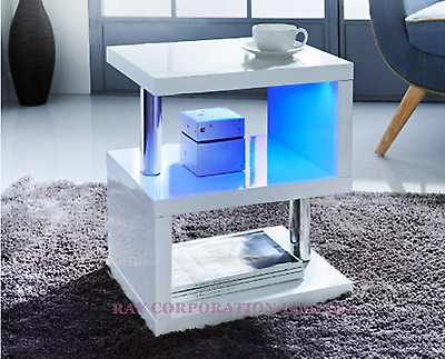 Alaska Modern Design White High Gloss Coffee/Side Table With Blue LED Lights