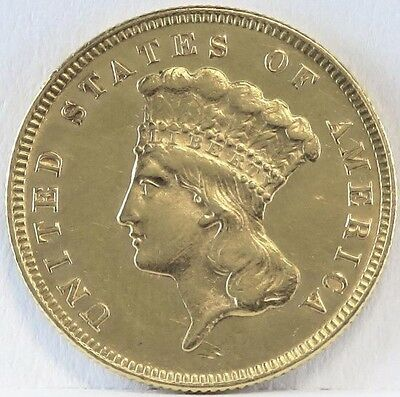 1874 $3 Gold Brilliant Uncirculated *t1*