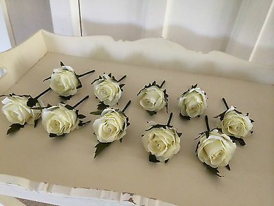 Wedding Artificial X1 Rose Button Holes Vintage Ivory/cream Just £1.10 Each