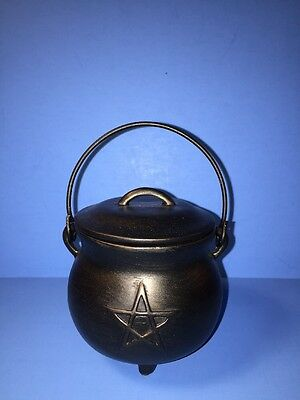 "NEW 3"" Tall Wicca Pentagram Box Resin Cauldron Metal Handle Gothic Celtic Witch"