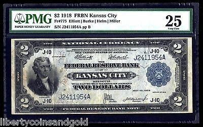 1918 $2 Battleship Note Kansas City Fr#775 Elliot-Burke Signature PMG Graded 25