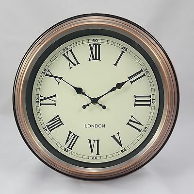 """'London' Wall Clock Vintage Copper With Cream Face 31 cm (12.25"""") Diameter"""