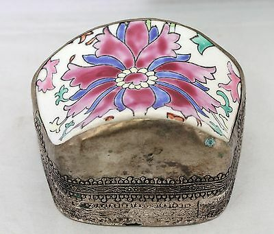 Early Vintage Chinese Shard Trinket Box - Repousse Silver Metal Floral Porcelain