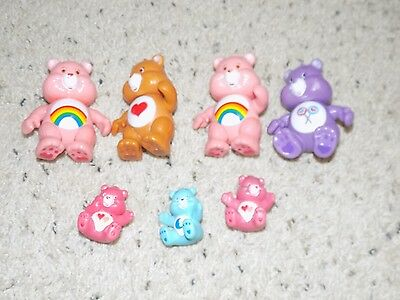 Lot of 7 Vintage Care Bears Figures 4 Possible & 3 Smaller Figures