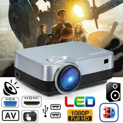 LED 5000 Lumen FULL HD 1080P Home Projector Theater Zoom 5000:1 3D HDMI USB VGA