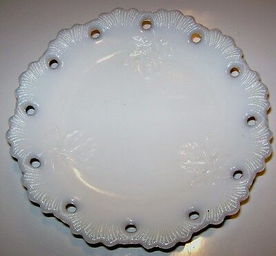 Antique Victorian Milk Glass Plate Embossed Oak Leaves Wheat Sheaves & Circles