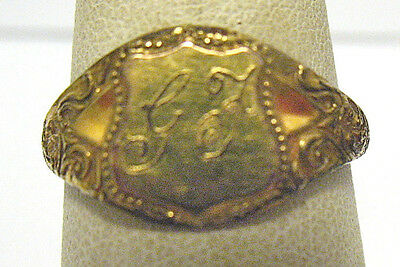 "Antique Rolled Gold Signet ""gf"" Ring Size 8.25  2.5 Grams 10 Mm Wide"