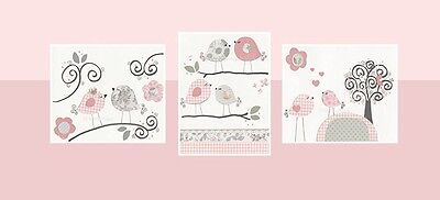 Baby girl nursery love birds wall art Set of 3 prints