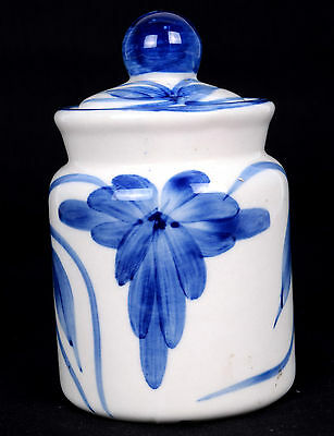 Vintage Blue & White Ceramic Pickle Jar / Pot Nice Decorative Collectible. i21-8