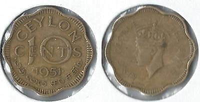 1951 Ceylon 10 cents coin