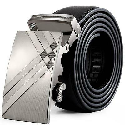 Men Business Leather Automatic Buckle Belt Fashion Buckle Waist Strap Waistband