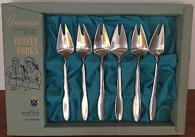 6 x 1960's VINTAGE GROSVENOR 18-8 STAINLESS STEEL BUFFET FORKS N.O.S IN BOX