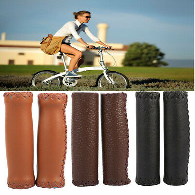 1 Pair 3-Colors Retro PU Leather Bicycle Handlebar Bike Handle Cover Grips