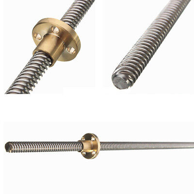 8mm T8x2 Threaded Rod for Trapezoidal ACME Lead Screw W/ Brass Nut 100mm