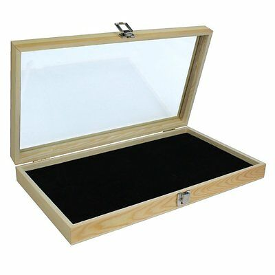 """Display Box Case"" - Natural Wood Glass Top Lid Black Pad Medals Awards Jewelry!"