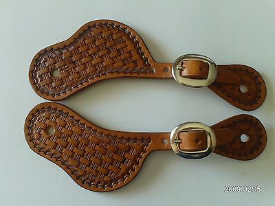 Aw Leather Goods Hand Made Basket Weave Old Cowboy Style Western Spur Straps