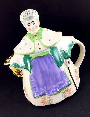 Shawnee GRANNY ANN Antique Hand Panited Teapot Floral Apron Gold Spout Bo Peep