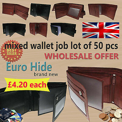 JOB LOT Mens Brand New Euro Hide Wholesale Mixed Soft Leather Wallets - 50PCS