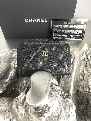 NWT CHANEL 2016 Black Caviar Gold CC Zip Wallet Coin Purse Card Case CardHolder
