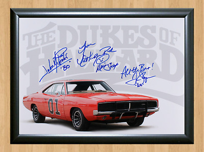 Catherine Bach Tom Wopat Dukes of Hazzard Signed Autographed A4 Photo Poster Car