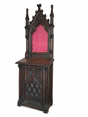 Rare Antique French Gothic Display Cabinet, Oak, Turn of the Century