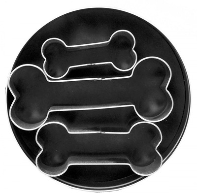 Fox Run 3683 Dog Bone Cookie Cutter Set, Tin Plated Steel, 3 Piece, Metal