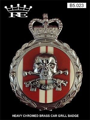Royale Heavy Chromed Brass Car Badge - 17 21 LANCERS RED DEATH OR GLORY - B5.023