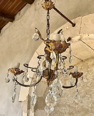 Beautiful 3-arm French vintage brass crystal chandelier ceiling light