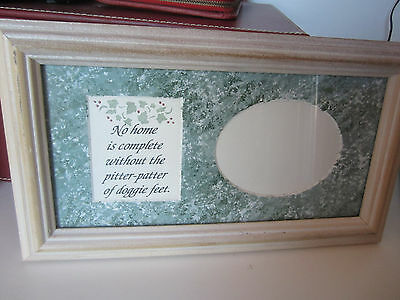 New Antiqued White  Wooden Frame With Green Sponge Painted & Calligraphy  4 Dog