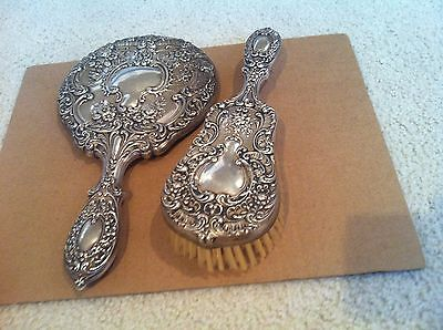 GORHAM STERLING SILVER 23 BUTTERCUP Repousse Vintage BRUSH & MIRROR Vanity Set