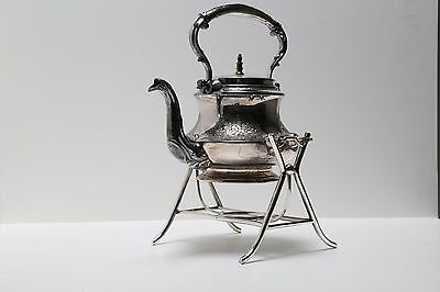 Victorian Silver Plate Hot Water Tea Kettle on stand - W&H - Sheffield