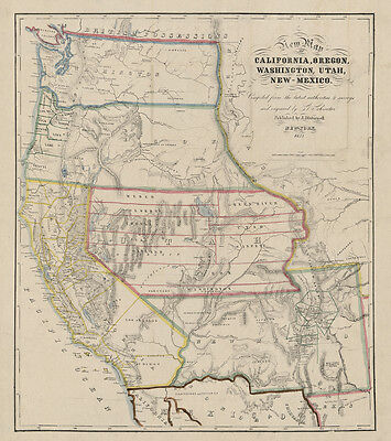 1853 Map of California Oregon Washington Utah and New Mexico LARGE